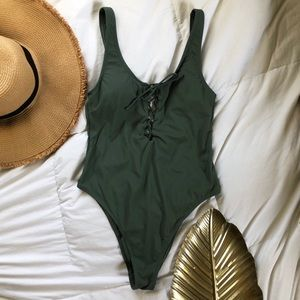 Olive green one piece swim